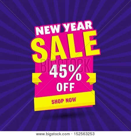 New Year Sale with 45% discount offer. Creative paper tag or banner design on rays background.