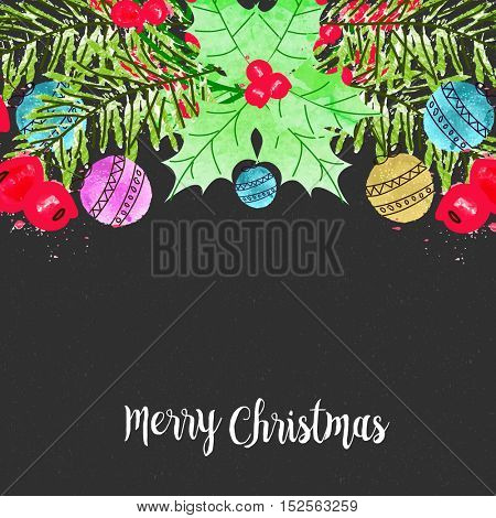 Merry Christmas celebration background decorated with colorful xmas balls, holly leaves and berries. Creative vector illustration.