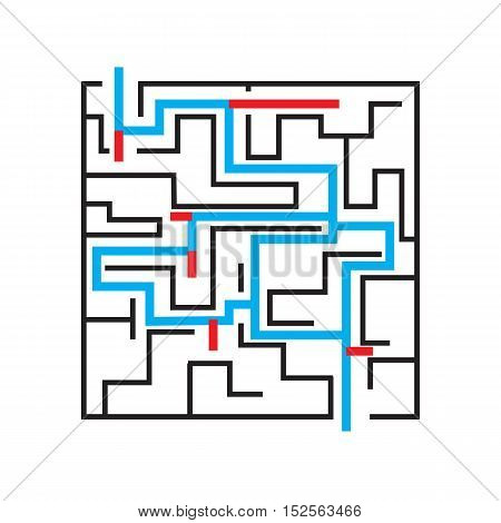 Labyrinth. Variants of right and wrong passage of the maze. Vector illustration.