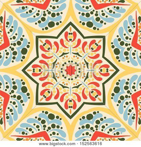 A stylized drawing. Mandala. Stylized lace ornament. Islam, Arabic, Indian, ottoman motifs. Stylized flowers.
