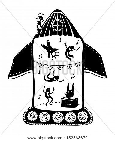 space party ship, moonwalker, illustration, decorate, aliens, invitation, beautiful, party, happy, moonwalker, rabbit, DJ, dance, music