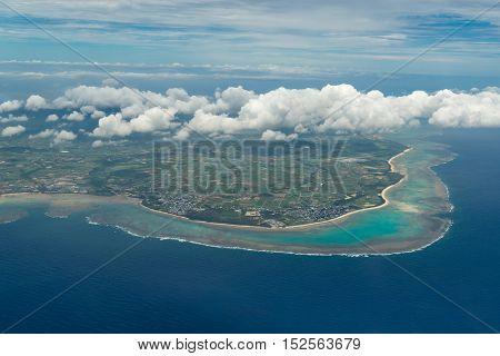 Aerial view of Ishigaki Island in Okinawa, Japan