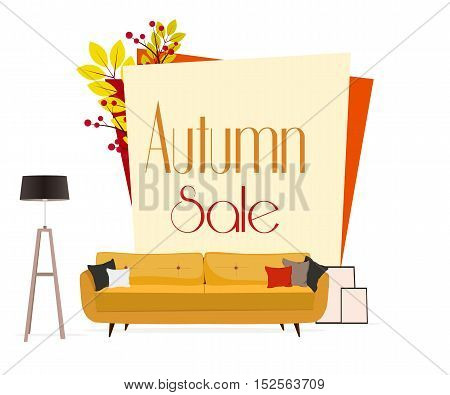 Furniture. Autumn sale. Sofa with pillows, lamp and pictures.