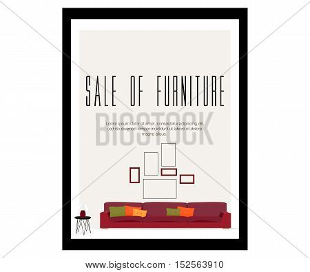 Furniture. Sale of furniture. Sofa with pillows, lamp and pictures.