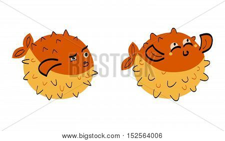 Fish hedgehog cartoon ocean life vector. Green fish hedgehog isolated on white. Fish hedgehog tropical fauna. Danger hedgehog vector illustration.