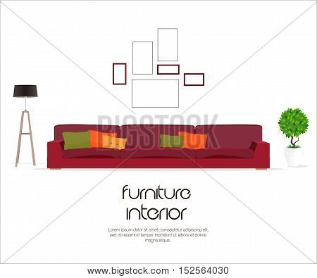Living room. Furniture design. Sofa with pillows, lamp, pictures.