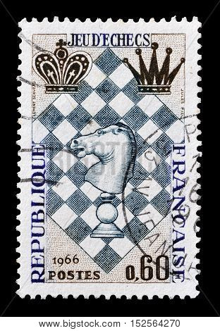 FRANCE - CIRCA 1966 : Cancelled postage stamp printed by France, that shows Chess.