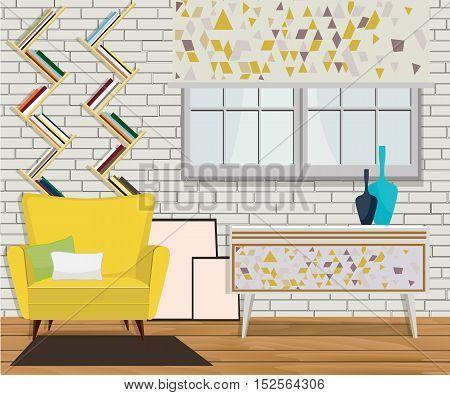 Furniture design. Interior. Chair with pillows, shelves, window, carpet