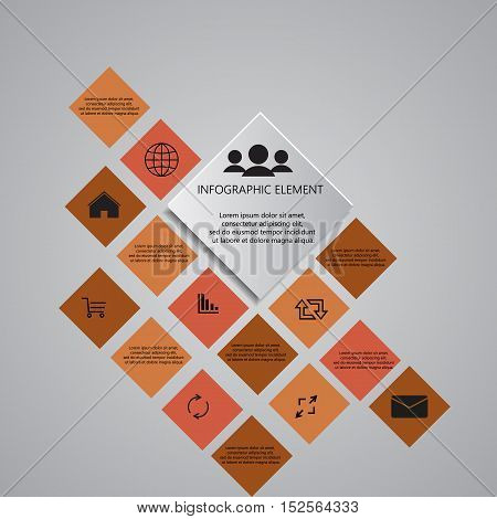 modern infographics timeline Design template. Glossy colorful brown plastic buttons for infographic