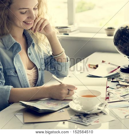 Woman Thinking Smiling Writing Letters Concept