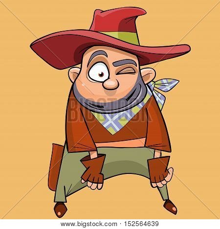 cartoon funny man in the clothes of a cowboy