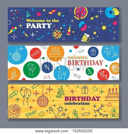 Happy Birthday Card. Kids birthday party banner. Poster to birthday celebration. Party celebration banner Banner or Template design for Musical Party celebration.