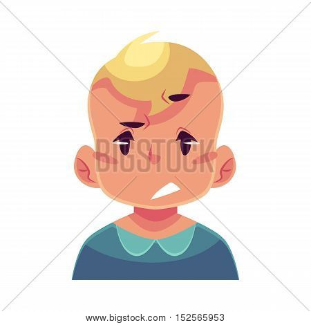 Little boy face, upset, confused facial expression, cartoon vector illustrations isolated on white background. Blond male kid emoji face, concerned, confused frustrated.