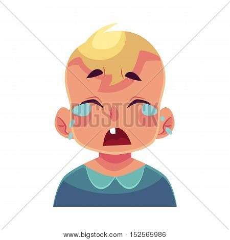 Little boy face, crying facial expression, cartoon vector illustrations isolated on white background. Blond male kid emoji face crying, shedding tears, sad, heart broken, in grief.