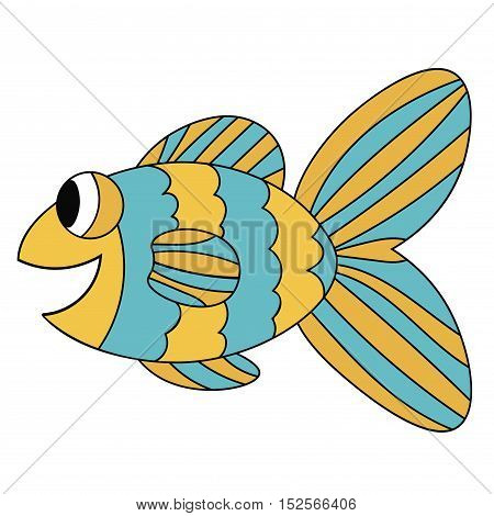 Blue and yellow colorful cute smiling cartoon fish. Hand drawn thin line tropical aquarium animal. Icon isolated on white background.