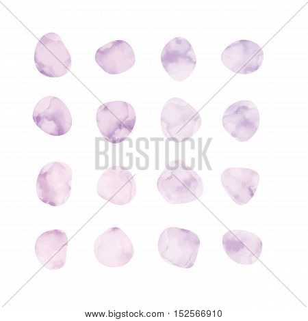 Vector pink and purple watercolor spots. Stained petals. Hand painted circles collection.