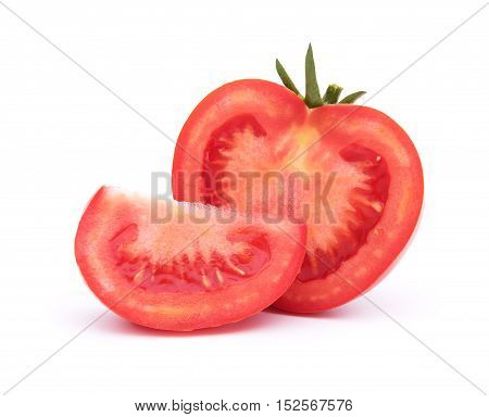 Sliced red tomato and half behind isolated on white with shadow