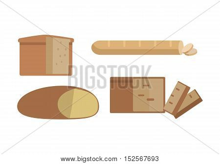 Set of different types of bread vector in flat design. Cake or bun with sliced part for baking concepts, bakery logotypes, food and healthy nutrition illustrating. Isolated on white background.