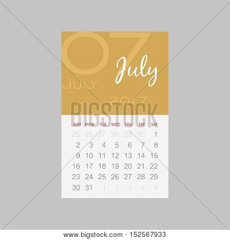 Calendar 2017 months July. Week starts from Sunday eps 10