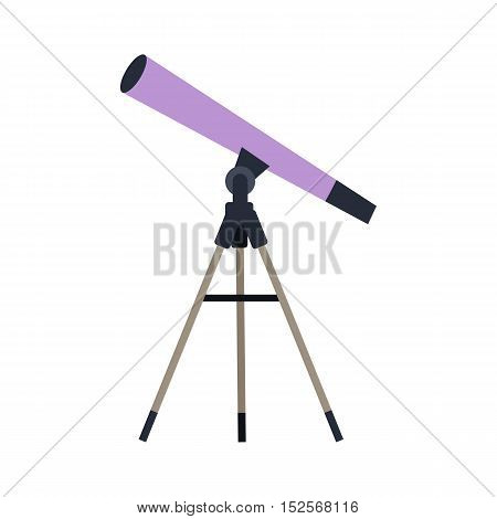 Telescope vector in flat style. Astronomical observations. Observatory equipment and instruments. Illustration for scientific and educational concepts. Isolated on white background