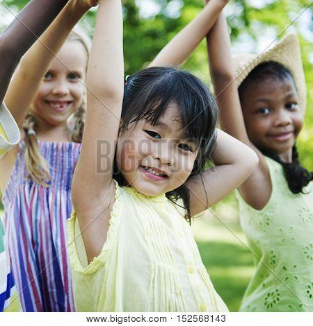 Child Friends Girls Playful Nature Offspring Concept