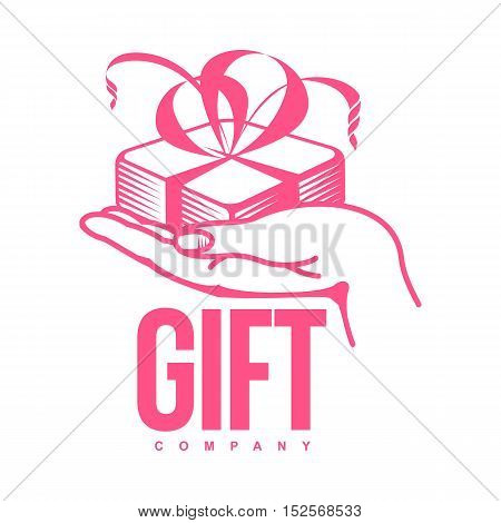 pink and white graphic line art gift box logo templates, vector illustration isolated on white background. Gif box with ribbon and bow, hand offering gift, giving present
