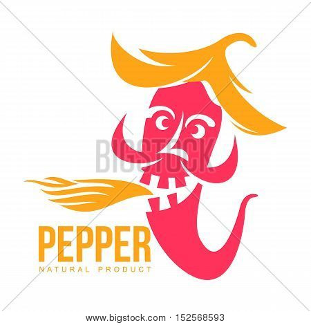 pink and orange of chili pepper vector logo illustration, isolated on white background. Hot and spice chili pepper logo, skull and bones, mexican cuisine