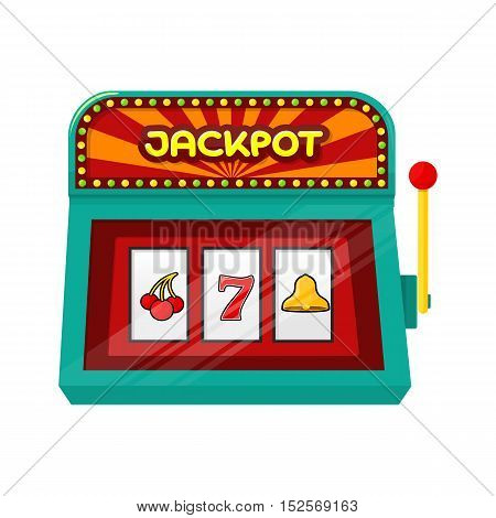 Slot machine web banner isolated on green. One arm gambling device.