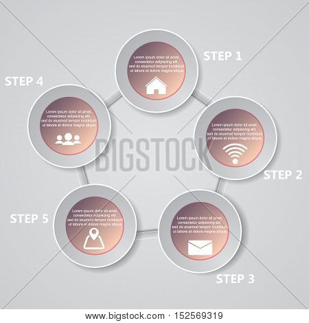 5 Steps Chart Template/graphic Or Website Layout. Vector.