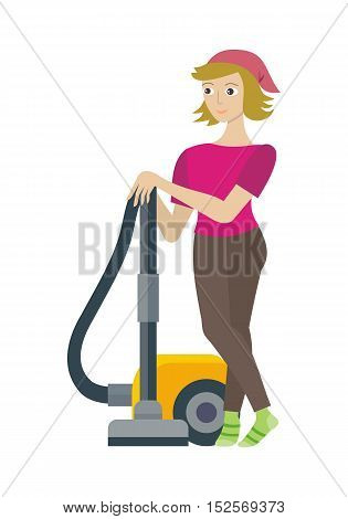 Cleaning service concept vector. Flat style design. Smiling woman character standing with vacuum cleaner.