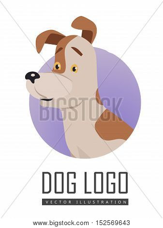 Dog vector logo in flat style. Russell Terrier bust in the blue circle illustration