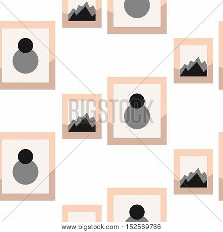 Images in frameson wall seamless vector pattern. Gray and pink modern background for wrap paper or wallpaper.