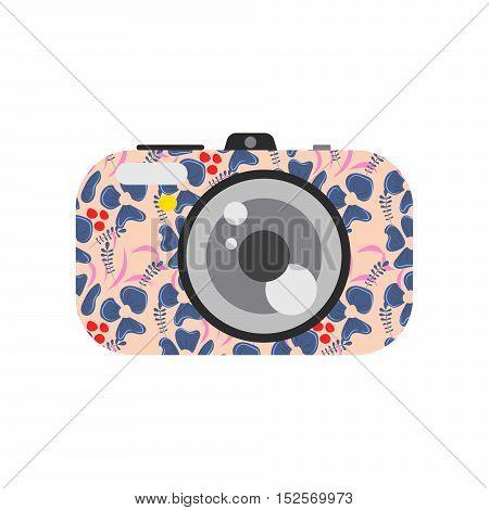Photo digital camera with floral design. Camera vector illustration.