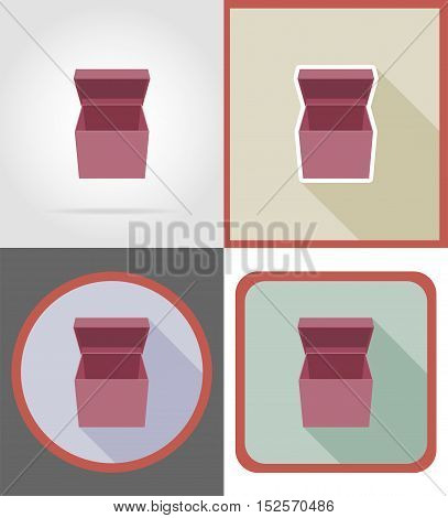 delivery cardboard box flat icons vector illustration isolated on background