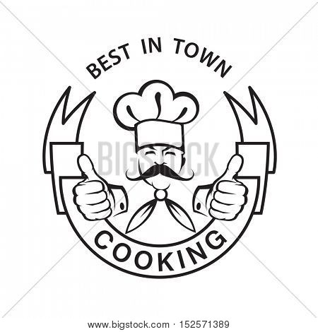 monochrome image of mustachioed chef