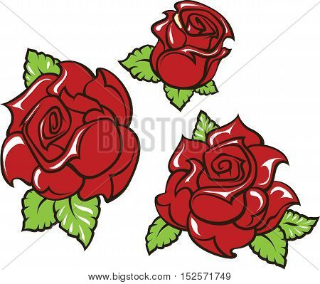 Old-school styled tattoo of three red roses with green leaves Editable vector illustration isolated on white background.