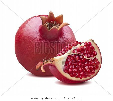 Whole red pomegranate quarter piece isolated on white background as package design element