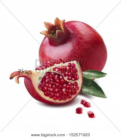 Pomegranate whole and quarter piece isolated on white background as package design element