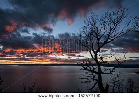 Sunset over Yellowstone Lake from Lake Butte overlook