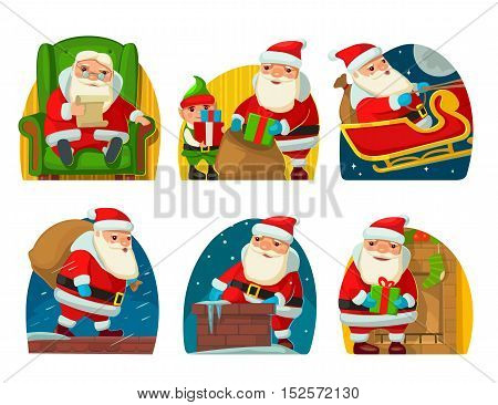 Santa Claus and elf. Set flat vector illustration for New Year and Merry Christmas.