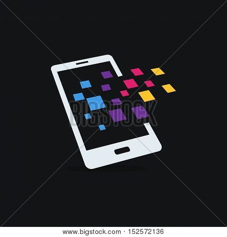 Mobile Applications splash out themed. Smartphone creative sign. Modern technology