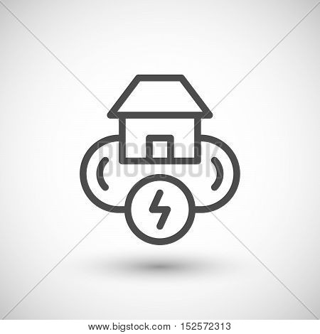 Electricity system line icon isolated on grey. Vector illustration