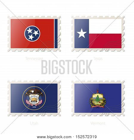 Postage Stamp With The Image Of Tennessee, Texas, Utah, Vermont State Flag.