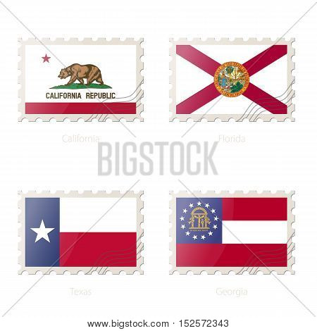 Postage Stamp With The Image Of California, Florida, Texas, Georgia State Flag.