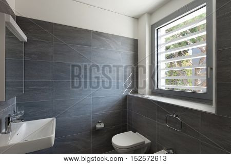Interior of a modern house, gray bathroom, tiled walls and white ceiling