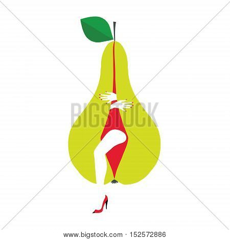 Pear with parts of a woman's body. Beautiful original picture can illustrate healthy lifestyles.