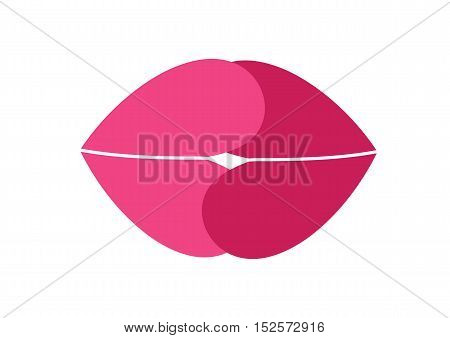 Vector illustration of a creative image of female lips in the shape of a heart.