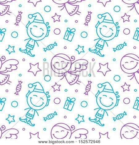 vector christmas seamless pattern with angels and elves