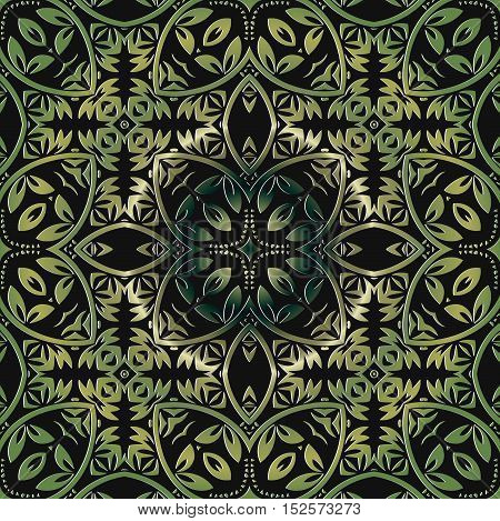 Colorful green ethnic patterned background. Arabesque ornament vector illustration