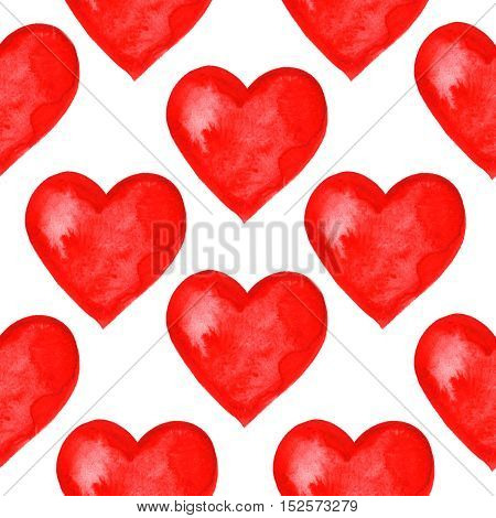 seamless pattern with hand painted watercolor hearts on white background. Perfect for romantic occasions such as Valentine's day.